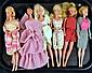6 Barbie Dolls, All Marked Mattel Inc. 1966.