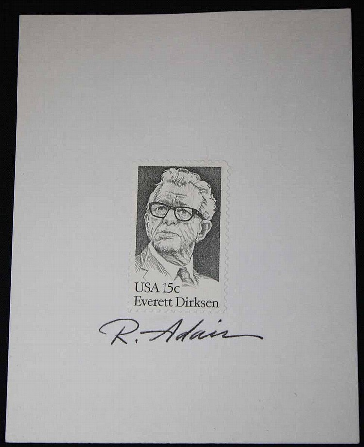 Original Postage Stamp of Everett Dirksen Signed by Stamp Artist Ron Adair