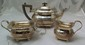 Engraved Sterling Teapot, Creamer & Sugar