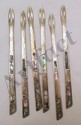 Six Mexican Sterling & Abalone Inlay Relish Forks