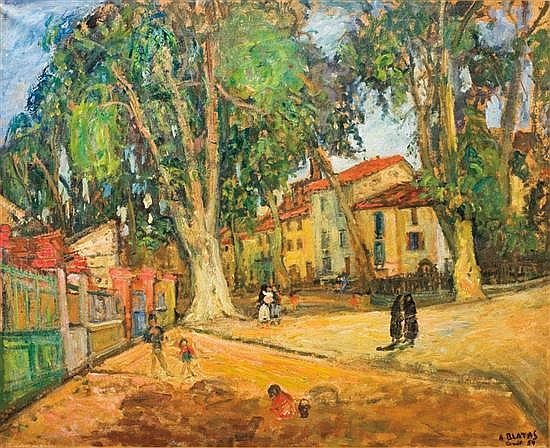 Arbit Blatas 1908-1999 (Lithuanian) Village square in Ceret, 1954 oil on canvas