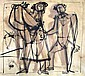 Jankel Adler 1895-1949 (Polish) Lot including 2 drawings (different sizes)- Figures ink on paper