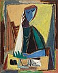 Aharon Kahana 1905-1967 (Israeli) Figure, 1947 oil on canvas, Aharon Kahana, $12,000