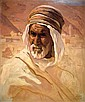 Adam Styka 1890-1959 (Polish) Arab's head oil on cardborad