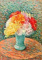 **Henri Lebasque 1865-1937 (French) Vase de dahlias oil on canvas