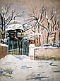 **Maurice Utrillo 1883-1955 (French) Moulin de la Galette sous la neige, Montmartre, c. 1926-28 gouache on paper mounted on canvas