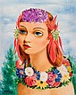 **Moise Kisling 1891-1953 (Polish, French) Petite t&ecirc;te fleurie, 1939 oil on canvas