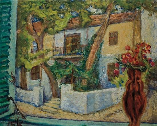 Arieh Allweil 1901-1967 (Israeli) Safed Landscape signed lower left