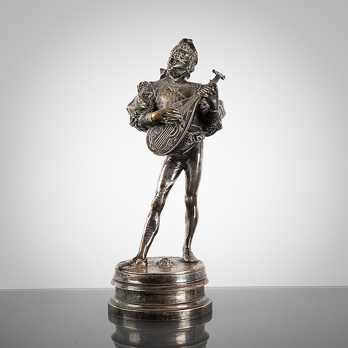 FRENCH SILVERED BRONZE STATUETTE