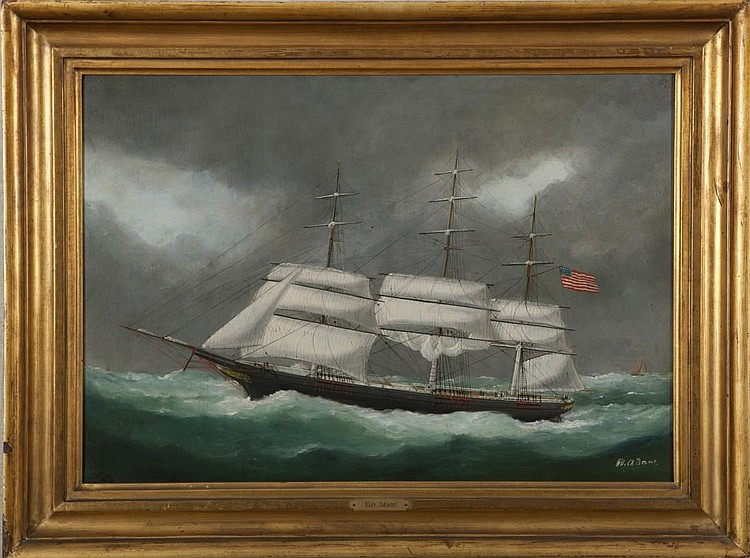 MARIE-EDOUARD ADAM (FRENCH 1847-1929). PORTRAIT OF AN AMERICAN CLIPPER SHIP.