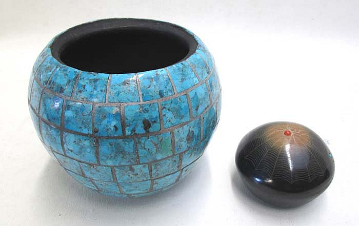 ZUNI TURQUOISE OVERLAID POTTERY VESSEL AND POT