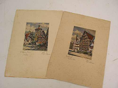 Paul SOLLMANN (1886 - 1950) ~ 2 HAND COLOURED ENGRAVINGS ~
