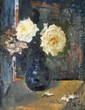 Xavier  Gonzalez (1898 - 1993), Three White Roses, oil on burlap, 18 x 14, signed lower right initials X.G., dated August 10, 1978, titled verso, label verso, purchased from the Wellfleet Gallery