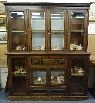 A late Victorian mahogany secretaire display