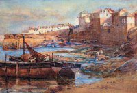 Henry Meynell Rheam (1855-1920) OLD HARBOUR, NEWLYN signed with initials and dated 1909, watercolour 33 x 47 cm. (13 x 18 in.) PROVENANCE: Minehead, John F. Matthews Art Gallery