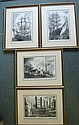 Four Pencil Signed ALAN Jay Gaines Ship Etchings: