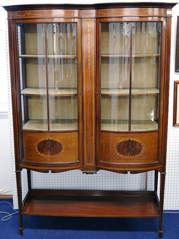 Edwardian mahogany double bow fronted display