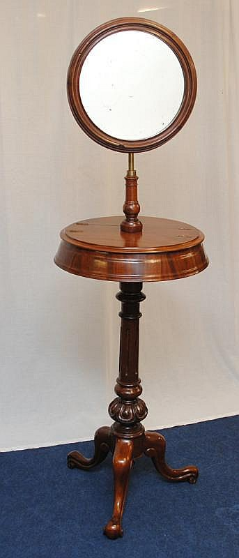 Victorian mahogany shaving stand on tripod base