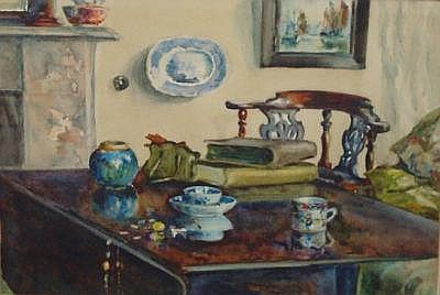 Pair 1920's watercolours 'Still Life, Interior