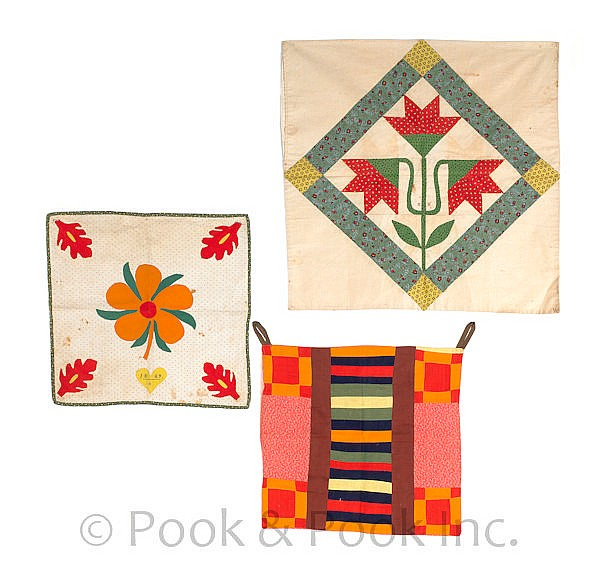Three Pennsylvania pieced and appliqué privy bags,