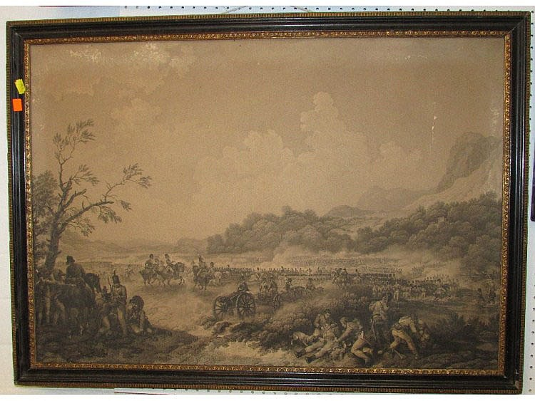 Framed Stipple Engraving Of Napoleonic Era Land