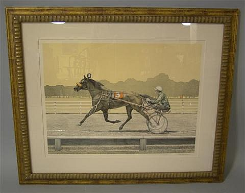 MEL HUNTER (AMERICAN, 1927-2004) STANDARDBRED, 1974 Print: 19 x 25 in. (sight)