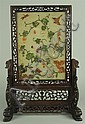 CHINESE HARDSTONE INLAID TABLE SCREEN WITH SQUIRRELS AND GRAPES, LATE 19TH/ EARLY 20TH CENTURY