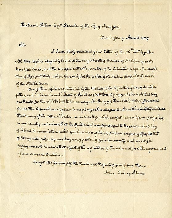 Adams, John Quincy. Autograph letter signed as President, 1 page (10 x 7 ¾ in.; 254 x 197 mm.)