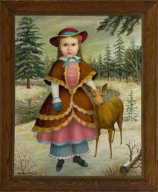 Attardi, Thomas (U.S. 1900 - ). Portrait of girl with deer in winter setting.