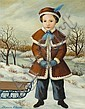 Attardi, Thomas (Am. 1900 - ). Portrait of a young girl with sled in a winter setting., Thomas Attardi, Click for value