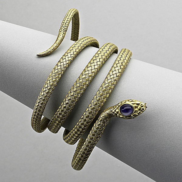 14K GOLD JEWELED COILED SERPENT BRACELET; Designed
