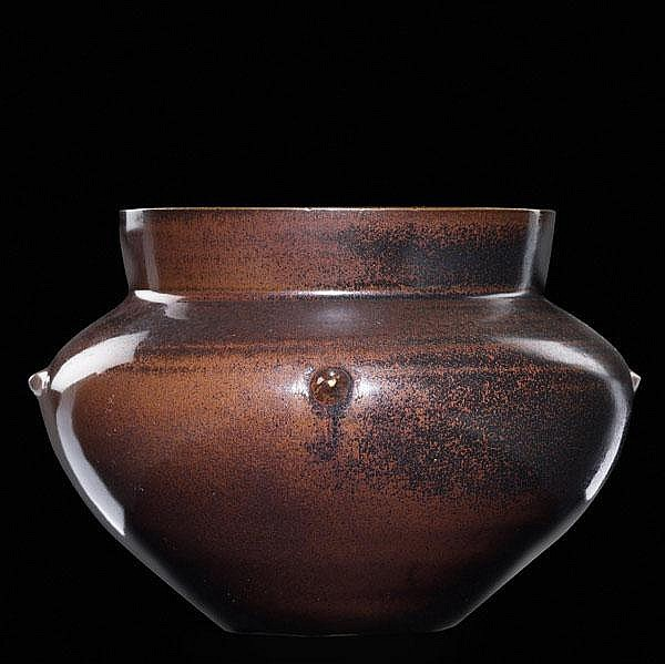 LAURA ANDRESON Glazed stoneware vessel with small
