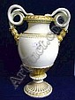 Early nineteenth century Meissen Empire-style gilt and white porcelain vase with double serpent scroll handles, acanthus and fluted decoration