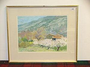 Anthony Atkinson gouache - Spring below Mount