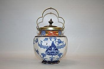 Late Victorian Macintyre biscuit barrel with blue