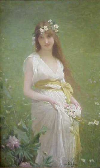 JULES LEFEBVRE (1836-1911 FRANCE) PORTRAIT OF A GIRL WITH FLOWERS, OIL ON CANVAS, SIGNED LOWER RIGHT, RELINED, EX CHRISTIE'S, 55