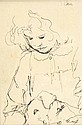 Tom Carr, HRHA HRUA - GIRL WITH DOG, Pen & Ink
