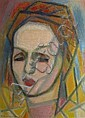 Félicia PACANOWSKA  Woman's head, Cubist painting, 1952 Pastel on paper. Signed and dated on the lower left. Stamp of the sale on the back. 36,5 x 26,5 cm., Félicia Pacanowska, Click for value
