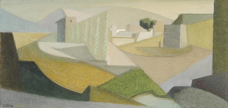 Jacques AZEMA Paysage cubiste, 11-59. Jacques AZEMA  Cubist landscape, 11-59  gouache, signed and dated lower-left  .12 x 24.5 cm