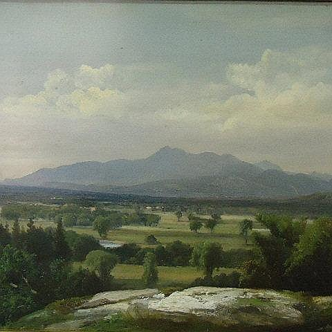 OIL ON CANVAS OF A WHITE MOUNTAINS LANDSCAPE