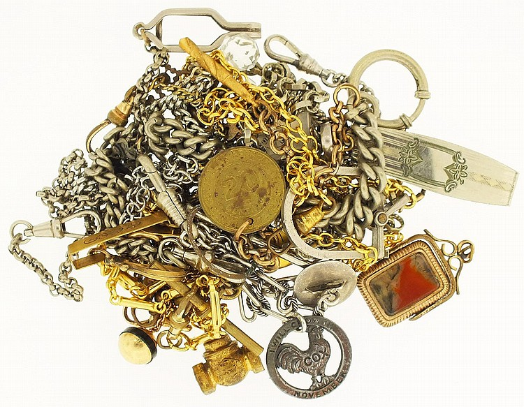 Watch chains- 12 (twelve) lot of miscellaneous gold filled and base metal chains, many made up of two or more chains, button hole chain may be silver, a gold filled odd fellows fob with agate reverse, a keystone fob of translucent stone or glass, and