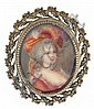 Brooch, enamel portrait of a lady, in a heavy