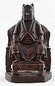 A Chinese carved & painted wood throne figure,