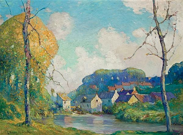 GEORGE AMES ALDRICH, American (1872-1941), A French Village, oil on canvas, signed lower left., 23 1/2 x 32