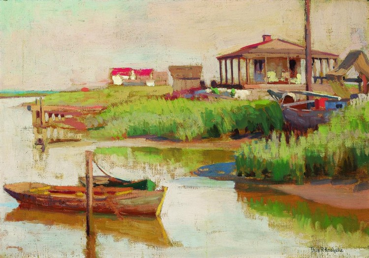 THOMAS ANSHUTZ American (1851-1912) Summer House on the Marsh