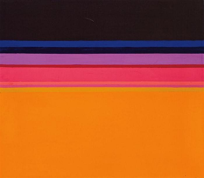 LAURENCE WARSHAW, American (b. 1939), Untitled, acrylic on canvas, signed lower right and dated 66, signed and dated on the reverse....