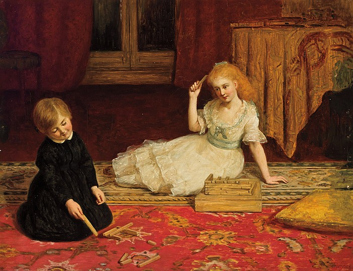 JAMES ARCHER, British (1823-1904), Children Playing Games, oil on canvas on masonite, signed lower right., 18 x 24