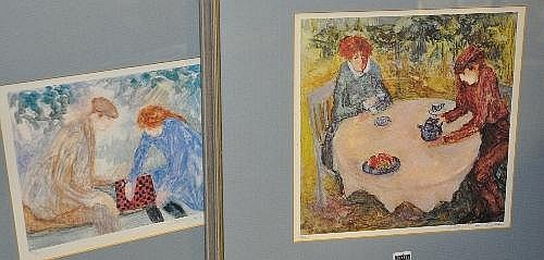 Barbara Wood Two coloured prints Chess Players and