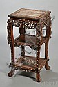 Inlaid Rosewood Stand, China, 19th century, with an inset square marble top, the borders inlaid in mother-of-pearl with leafy scroll...