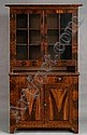 Pine Painted Poplar Glazed Cupboard, probably Pennsylvania, c. 1830, the top section with flat molded cornice above two hinged glazed doors enclosing shelves on a projecting lower case of two short drawers and two cupboard doors with raised panels,